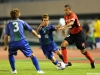 (EDITORIAL USE ONLY) xxx of Nagoya Grampus and yyy of FC Suzuka Rampore compete for the ball at Mizuho Stadium on October 12, 2011 in Nagoya, Aichi, Japan.
